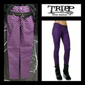 Tripp NYC Purple Zig Zag Skinny Jeans